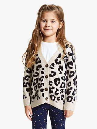 John Lewis & Partners Girls' Leopard Cardigan, Multi