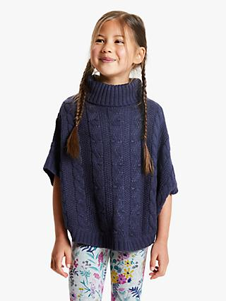 John Lewis & Partners Girls' Cable Knit Poncho, Navy