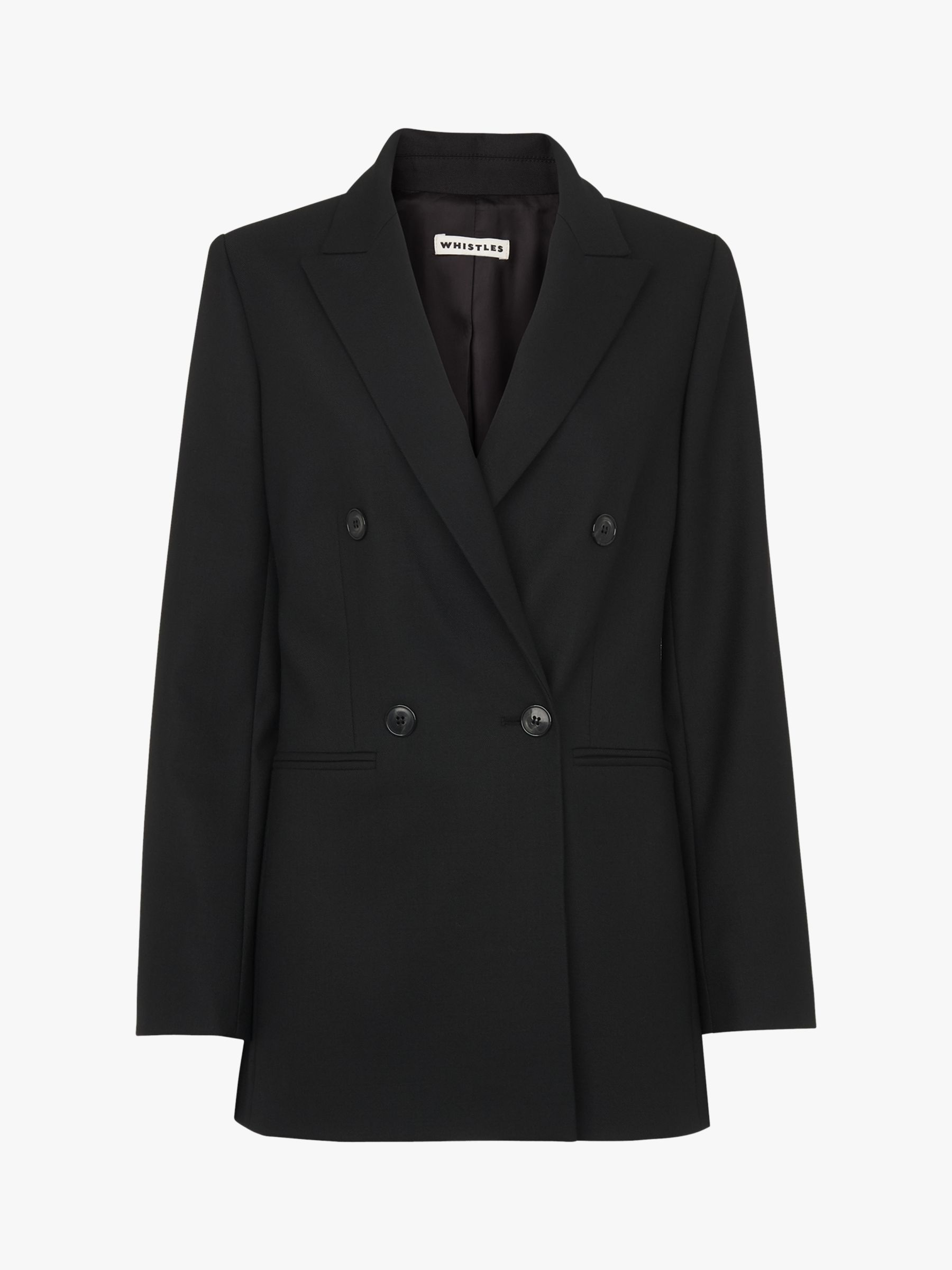Buy Whistles Aliza Double Breasted Blazer Jacket, Black, 18 Online at johnlewis.com
