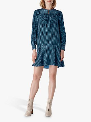 Whistles Daisy Print Frill Dress, Blue/Multi