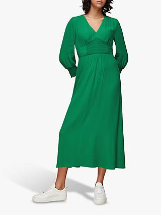 Whistles Zenna Shirred Waist Maxi Dress, Green
