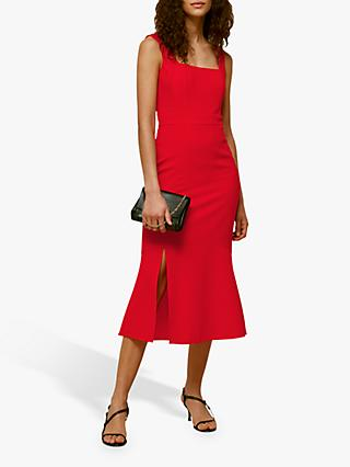 Whistles Milla Square Neck Midi Dress, Red