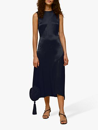 Whistles Satin Panelled Midi Dress, Navy