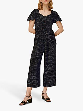 Whistles Micro Triangle Print Jumpsuit, Black/Multi