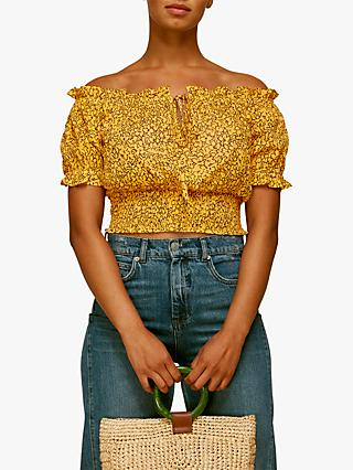 Whistles Floral Bardot Top, Yellow