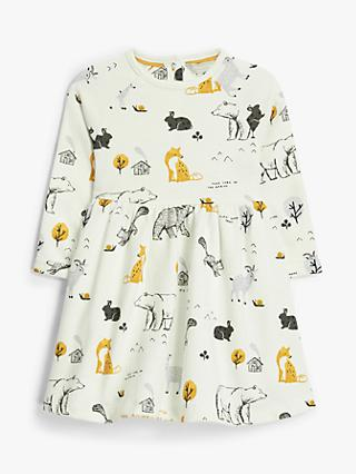 John Lewis & Partners Baby GOTS Organic Cotton Woodland Dress, Cream