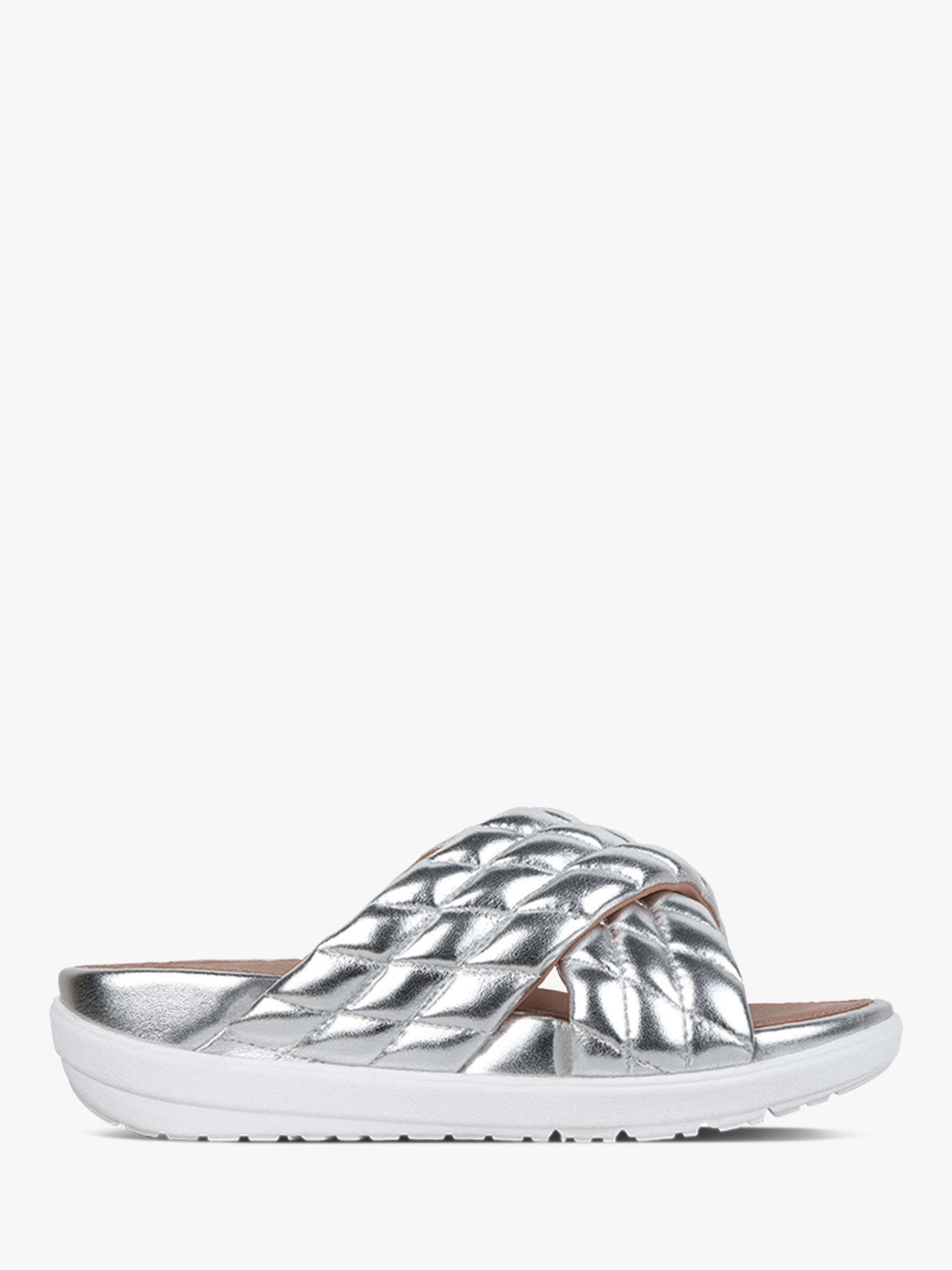 Fitflop FitFlop Loosh Leather Cross Slides, Silver