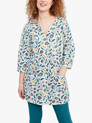Seasalt Aventurier 3/4 Sleeve Floral Print Tunic Top, Pastel Foliage Chalk