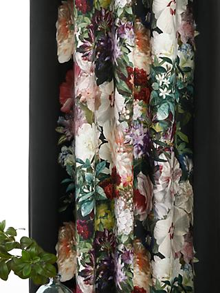 MM Linen Fiori Pair Lined Velvet Eyelet Curtains, Multi