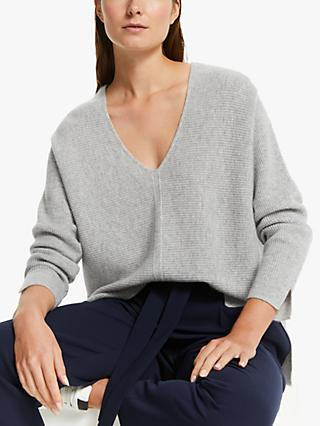 Modern Rarity V-Neck Cashmere Jumper, Light Grey Melange