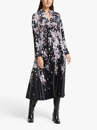 Modern Rarity Winter Blossom Archive Print Pleated Maxi Dress, Black