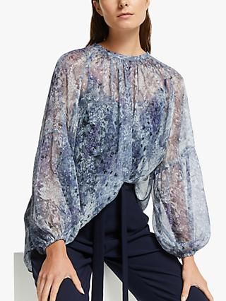 Modern Rarity Trailing Wisteria Archive Print Blouse, Blue
