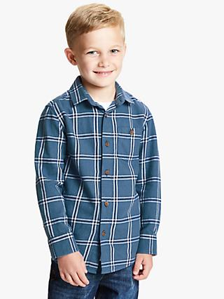 NEW John Lewis Boys Shirt Smart Casual Checked Blue Wedding Formal Age 8 11 Year