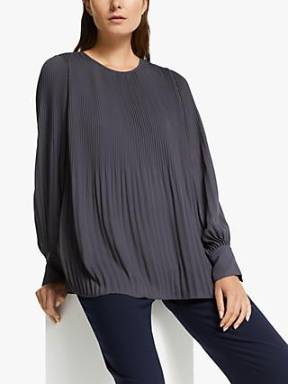 Modern Rarity Plisse Top, Charcoal