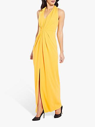 Adrianna Papell Pleated V-Neck Dress, Canary Yellow