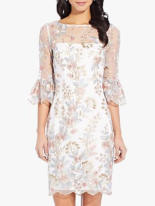 Adrianna Papell Embroidered Dress, Pink/Multi
