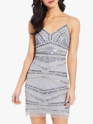 Adrianna Papell Beaded Cocktail Dress, Silver Grey