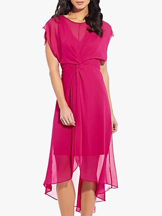 Adrianna Papell Chiffon Twist Dress, Bright Azalea