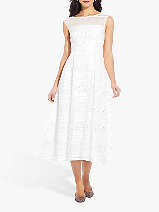 Adrianna Papell Ribbon Cocktail Dress, Ivory/Silver