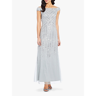 Product photo of Adrianna papell long beaded dress frosted sage
