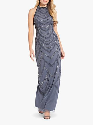 Adrianna Papell Bead Halter Gown, Dusty Blue