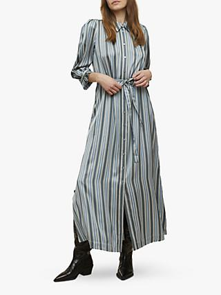 Jigsaw Stripe Multi Stripe Shirt Dress, Blue