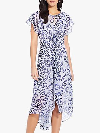 Adrianna Papell Watercolour Leopard Print Twist Dress, Purple/Multi
