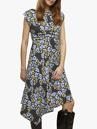 Jigsaw Graphic Poppy Print Midi Dress, Black