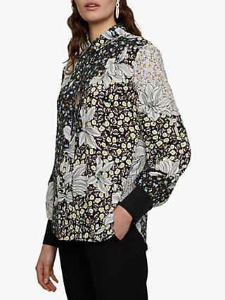 Jigsaw Floral Collage Silk Blouse, Multi