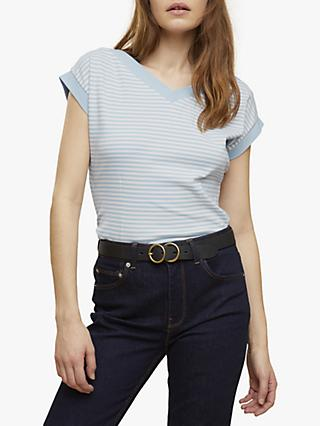 Jigsaw Stripe V-Neck T-Shirt, Arctic Blue