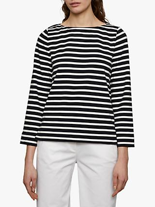 Jigsaw Boxy Breton Stripe Top, Navy