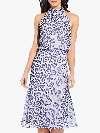 Adrianna Papell Watercolour Midi Dress, Purple/Multi