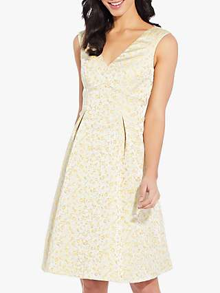Adrianna Papell Jacquard Pleated Dress, Yellow/White