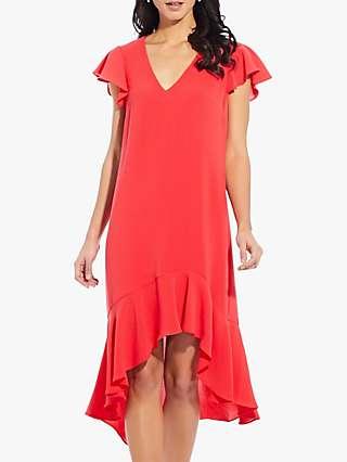 Adrianna Papell Gauzy High-Low Dress, Hot Tomato