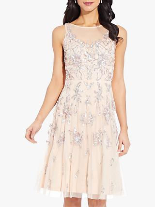 Adrianna Papell Beaded Dress, Champagne Sand