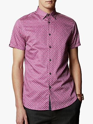 Ted Baker T for Tall Weare Cotton Short Sleeve Floral Shirt, Lilac
