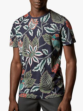 Ted Baker Arcade Tropical Print T-Shirt, Navy