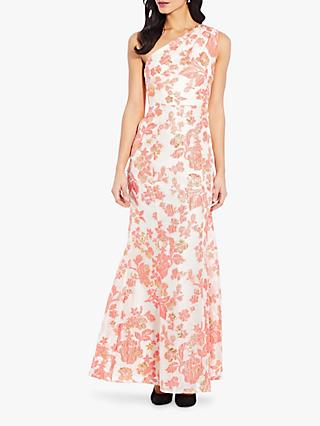 Adrianna Papell Floral Jacquard Gown, Coral/Ivory