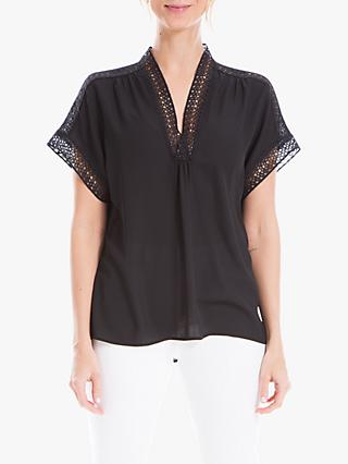 Max Studio Lace Detail Top, Black
