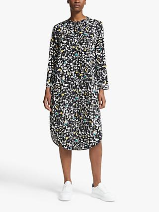 Kin Paint Print Shirt Dress, Black/Green