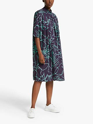 Kin Minimal Linear Print Dress, Purple/Multi