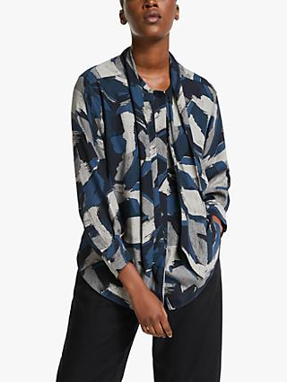 Kin Painterly Brush Print Shirt, Navy/Multi