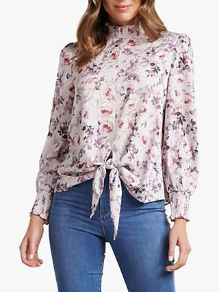 Forever New Jody Smocked Tie Front Blouse, Heavenly Bloom