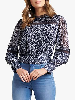 Forever New Norah Floral Print Pintuck Blouse, Blue/Multi