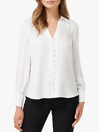Forever New Larissa Button Front Relaxed Blouse, Porcelain