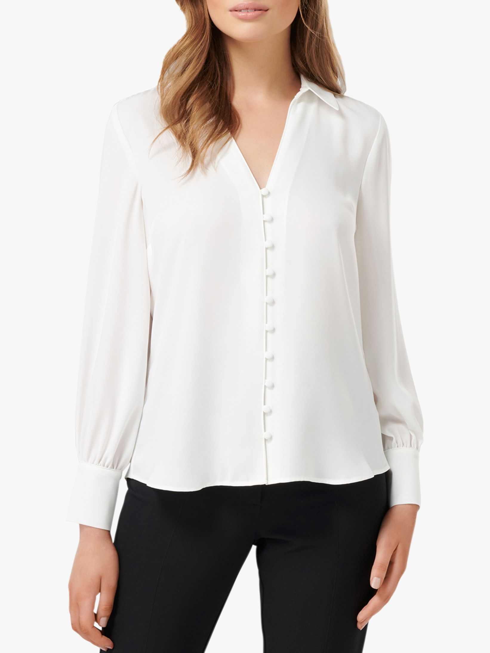 Forever New Forever New Larissa Button Front Relaxed Blouse, Porcelain