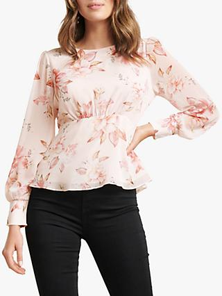 Forever New Rae Floral Print Blouse, Burnt Sienna