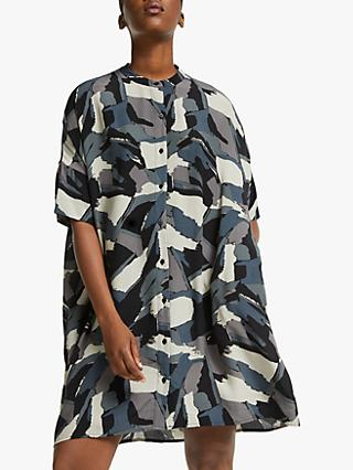 Kin Painterly Print Shirt Dress, Black/Multi