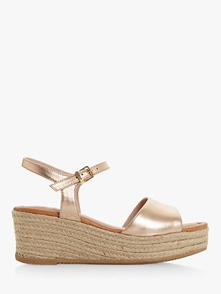 Dune Kadi Leather Espadrille Wedge Sandals, Rose Gold