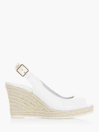 Dune Knox 2 Leather Peep Toe Espadrille Wedges